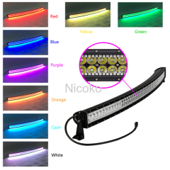 Auto lighting 300W curved Offroad LED Light bar RGB halo IP68 waterproof