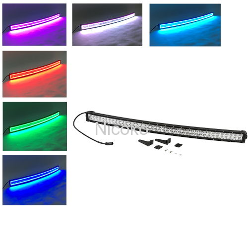 180w 32 Inch Curved Led Bar Off Road Lights Fog Lights Boat Lighting Headlight with RGB Halo ring wiring harness