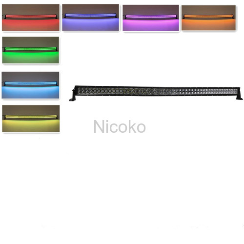 288w 50 Inch Straight Led Bar Off Road Lights Fog Lights Boat Lighting Headlight with RGB Halo ring wiring harness