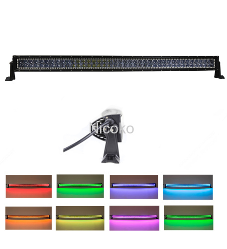 32inch 180w Curved Cree Led Bar Off Road Lights Fog Lights Boat Lighting Headlight with RGB Halo ring wiring harness