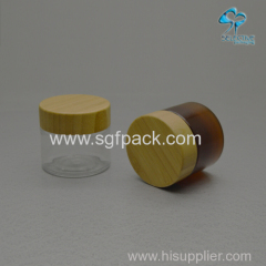 50g empty luxury amber colord PET cosmetic cream jar with wooden cap