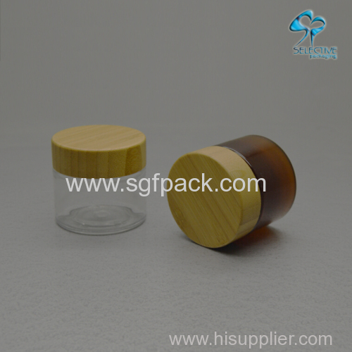 50g empty luxury amber colord PET cosmetic cream jar wooden cap