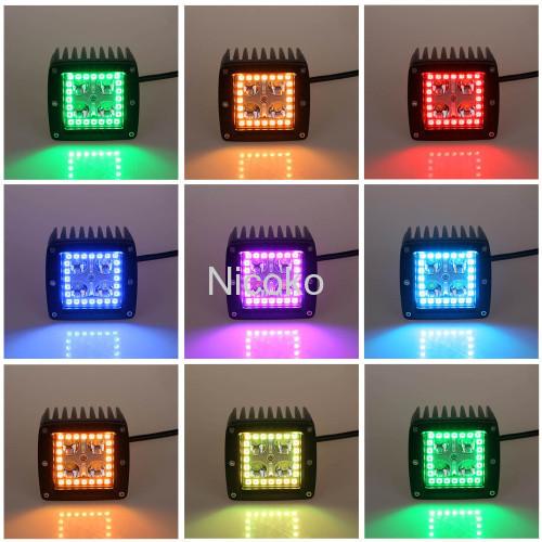 """12watt 3"""" Spot Driving Fog Light Off Road Lights Boat Lights driving lights Led Work Light with RGB halo ring waterproof"""
