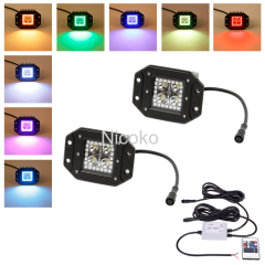 Flush mount 12watts led work light with RGB halo waterproof controller 3 meters wireharness