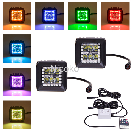 18 watts 6 Leds Spot Beam led work light Light bars with RGB halo