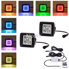 "18 watts 3"" Flood Beam Driving Fog Light Led Work Light with RGB halo ring Waterproof"