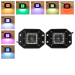Flush mount 12watts 4D Cree led work light Led lights with RGB halo waterproof controller