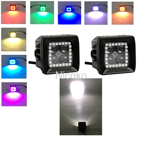"High-Power 40 Watts 3"" 4D Cree LED work light Spotlights Led lights with RGB halo ring waterproof (10 watts each Leds)"