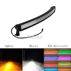 "52"" 300W Curved White Amber lights with ColorMorph RGB halo Driving Lights Fog Lamp Off Road Lighting for truck"