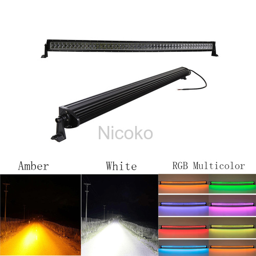 "Led light bar 52"" 300W White housing Straight White&Amber lights LED Lights flashing lights with ColorMorph RGB halo"