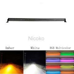 "50"" 288W Straight White Amber lights LED Lights with RGB halo Waterproof LED Light Bar Fog Light for Off-road Truck Car"