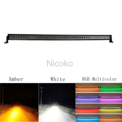 "42"" 240W Straight White&Amber lights LED Lights with ColorMorph RGB halo Spot Beam Waterproof Mount for SUV Boat Offroad"