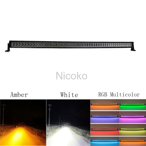 "Led light bar 42"" 240W Straight White Amber lights LED Lights flashing lights with ColorMorph RGB halo ring wiring harne"