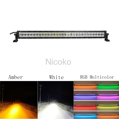 "Led light bar 32"" 180W Straight White Amber lights LED Lights flashing lights with ColorMorph RGB halo ring wiring harne"