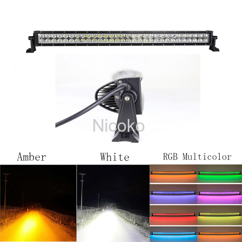 "Led light bar 32"" 180W Curved White Amber lights LED Lights flashing lights with ColorMorph RGB halo ring wiring harness"