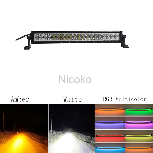 "Led light bar 22"" 120W Straight White Amber LED Lights flashing lights with ColorMorph RGB halo ring wiring harness"