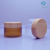 150ml empty clear PET plastic cosmetic cream jar with wood lids