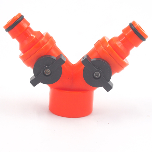Plastic Garden Y Tap Coupling With double outlet and Valve