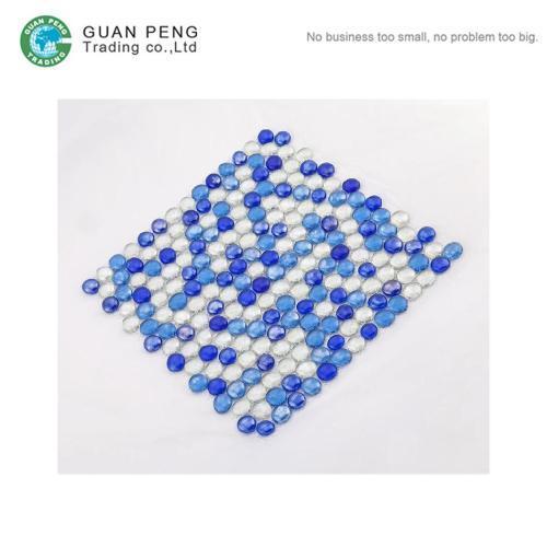 Blue Diamond Crystal Mosaic Mirror Round Tiles Glass Mosaic Backsplash