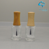 empty 15mm neck glass nail polish bottles packaging with wood brush lids