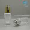 square french clear cosmetic glass oil bottle with aluminum press dropper cap