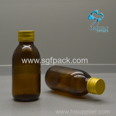 EMPTY AMBER GLASS BOTTLE WITH ALUMINUM SCREW CAP