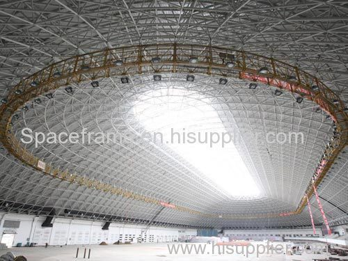 Steel space frame roof of stadium gym