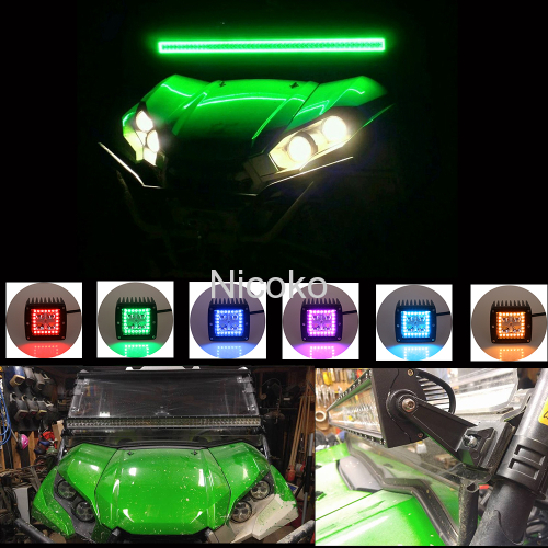 "52"" 300W Straight Flood Spot Combo Beam Light Bar Driving Light IP 68 Waterproof with RGB Halo ring Bluetooth controller"