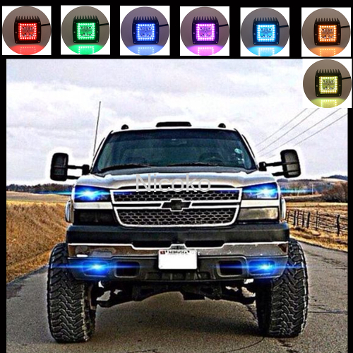 Flush mount 12 watts Cree Leds Spot Beam Fog Light Off Road Lights Boat Lights Led Work Light with RGB halo Waterproof