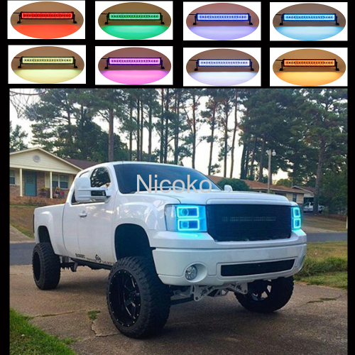 72w 12 Inch Straight off Road 14400lm Radius LED Light Bar with RGB Halo ring