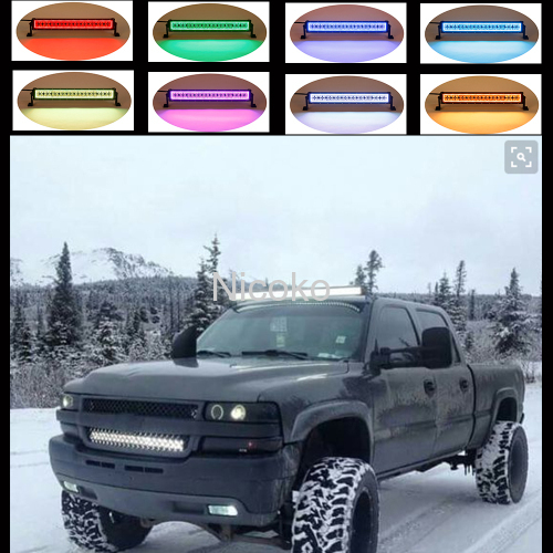 300w 52 Inch White Straight Led Bar Off Road Lights Fog Lights Boat Lighting Headlight with RGB Halo ring wiring harness