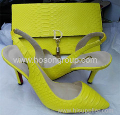 Yellow Color Sling Back Sandals and Purse