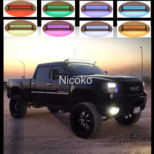 "52"" Led light bar 300W Curved White Amber lights LED Lights flashing lights with ColorMorph RGB halo ring wiring harness"