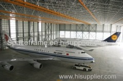Prefab space frame arch hangar for plane steel grid structure