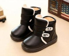 Kids PU leather velcro boots