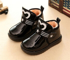 Kids velcro flat boots with star and heart