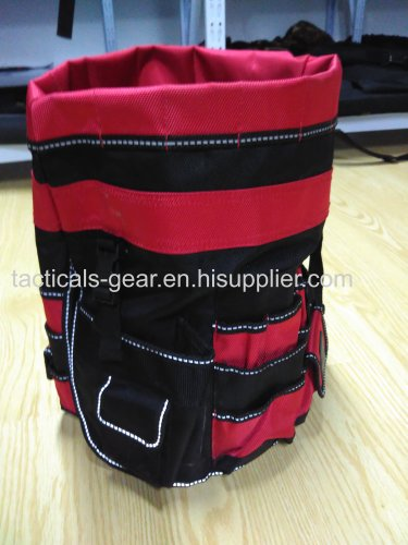 black and red barrel bag