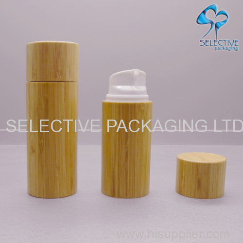 Plastic Airless Bottle Bamboo wooden Packaging Lotion Container