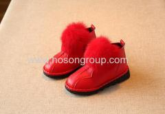 Winter kids PU leather shoes with fur
