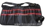black and red tool apron