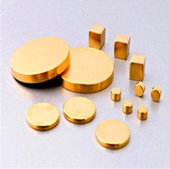 Sintered Neodymium Golden Magnets Disc Axial Magnetized N35 Grade