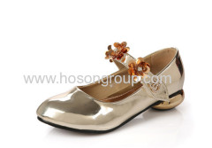Patent leather ankle strap special heel children shoes