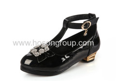 T-strap summer round toe children dress shoes