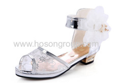 Children peep toe mesh ankle strap dress shoes