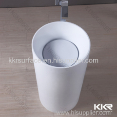 KKR manufacture solid surface artificial stone wash basin pedestal type