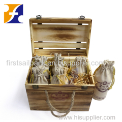OEM Wooden wine case box Wooden wine bottle holder for 6 bottle wine storage box TOTALLY CUSTOMIZED