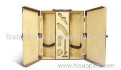 2 Bottles Wooden Wine Box Wood Wine Box\ PU Leather Wine Holder Stand With Logo & Handle