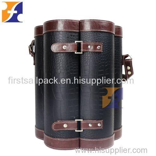 Special Flower Shape 6 Bottles Custom Magnetic Vintage Luxury Faux Leather Wine Case Box