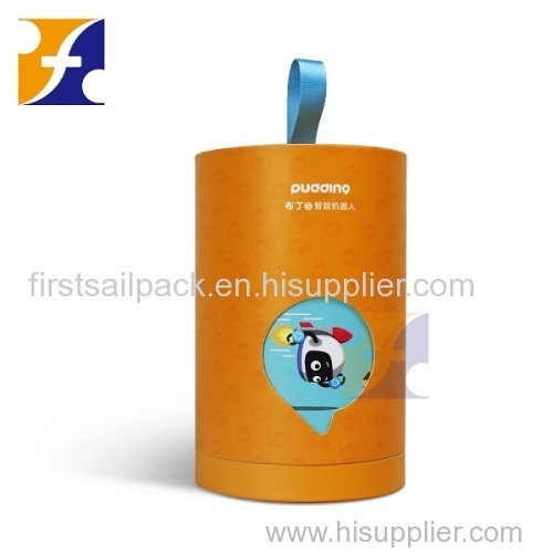 Customized cute children's toy robot box/ Rotatable round paper toy tube box