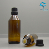 china empty tapered brown glass olive oil bottle with plastic screw lids